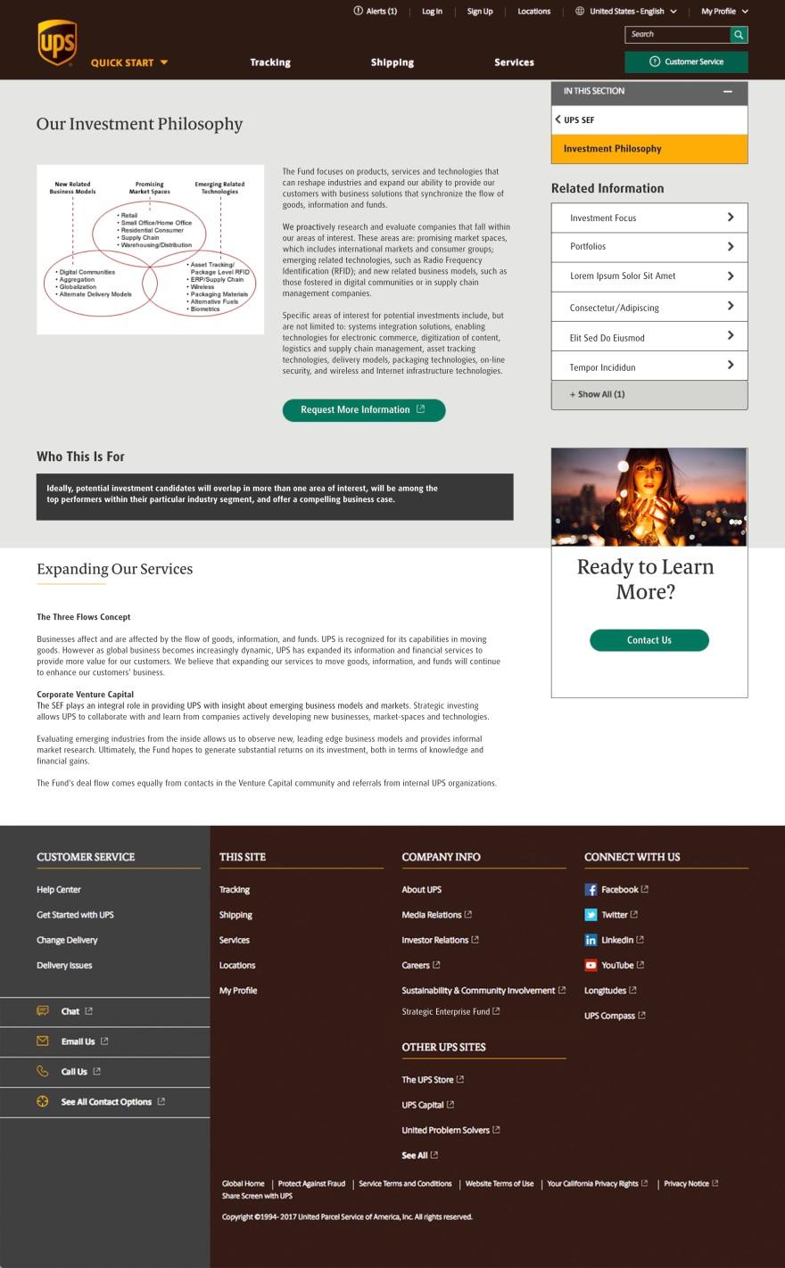 UPS Strategic Enterprise Fund Website Redesign – The