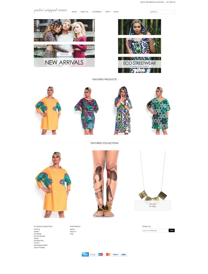 Pistol Whipped Cream e-commerce store homepage